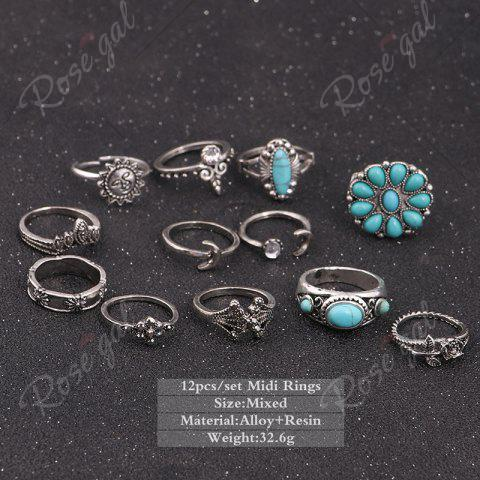Affordable Faux Turquoise Moon Sun Flower Ring Set - SILVER  Mobile