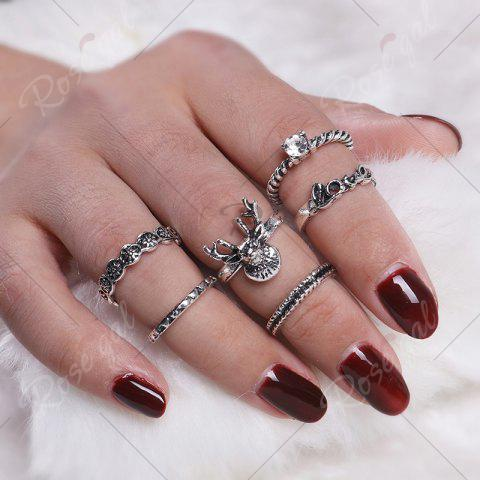 Online Deer Heart Love Finger Ring Set - SILVER  Mobile