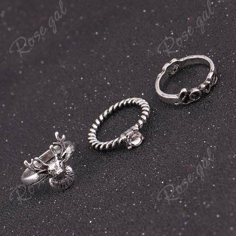 Affordable Deer Heart Love Finger Ring Set - SILVER  Mobile