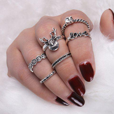 Sale Deer Heart Love Finger Ring Set - SILVER  Mobile