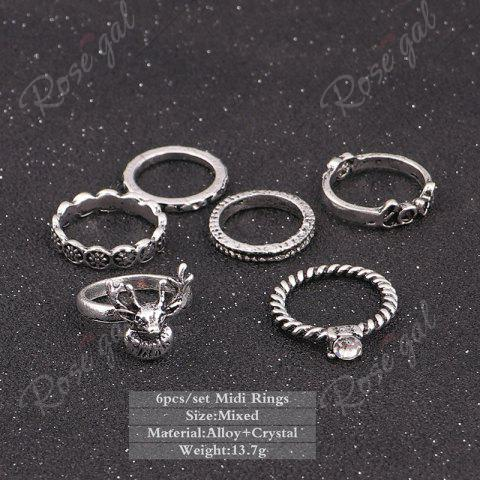 Trendy Deer Heart Love Finger Ring Set - SILVER  Mobile