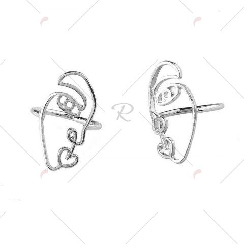 Sale Funny Alloy Heart Face Ring Set - SILVER  Mobile