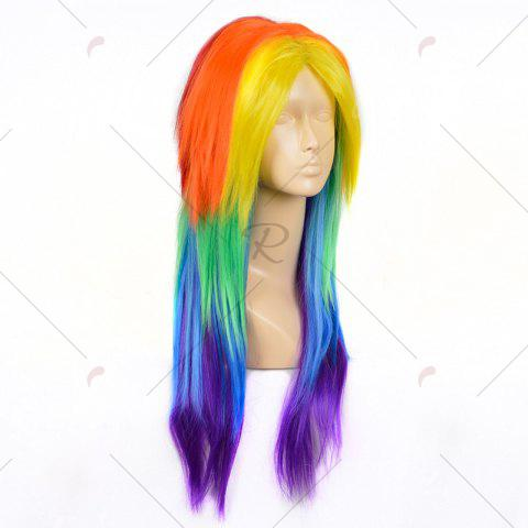 Latest Middle Part Long Layered Straight My Little Pony Rainbow Dash Cosplay Wig - COLORFUL  Mobile