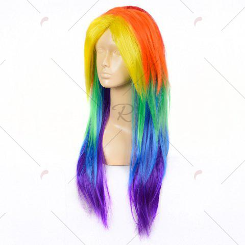 Online Middle Part Long Layered Straight My Little Pony Rainbow Dash Cosplay Wig - COLORFUL  Mobile