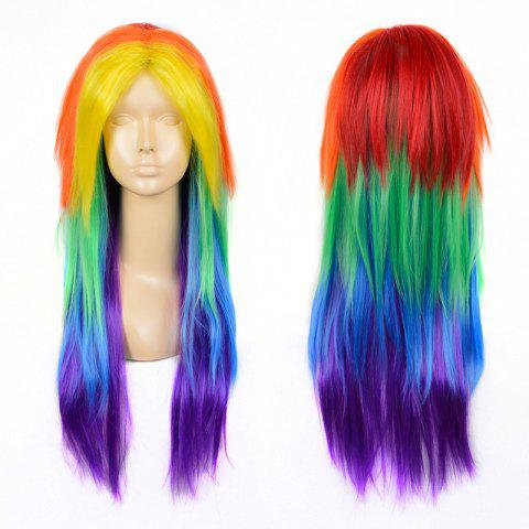 Partie moyenne Long Layered Straight My Little Pony Rainbow Dash Cosplay Wig Coloré