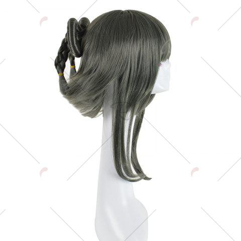 Latest Long Full Bang Straight Round Braided Lolita Cosplay Wig - INK PAINTING  Mobile