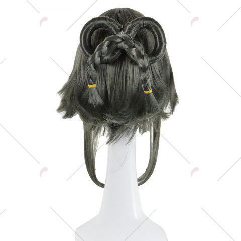 Online Long Full Bang Straight Round Braided Lolita Cosplay Wig - INK PAINTING  Mobile