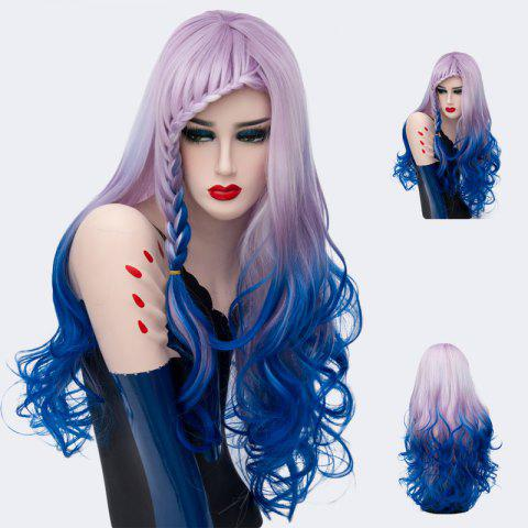 Long Side Braid Bang Layered Wavy Colormix Synthetic Wig - Cerulean