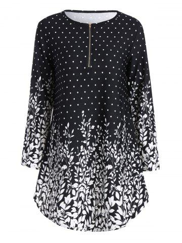 New Floral Polka Dot Plus Size Half Zip Long Sleeve Top