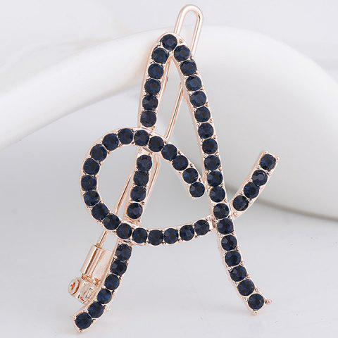 Outfit Rhinestone Hollow Out Letter A Hair Clip DEEP BLUE