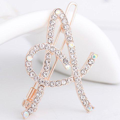 Rhinestone Hollow Out Letter A Hair Clip - White - 130cm