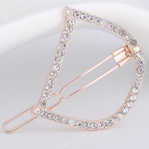 Fashion Rhinestone Hollow Out Letter D Hair Clip - WHITE  Mobile