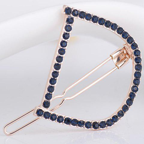 Cheap Rhinestone Hollow Out Letter D Hair Clip DEEP BLUE