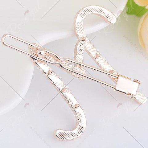 Buy Rhinestone Letter M Shape Hair Clip - SHALLOW PINK  Mobile