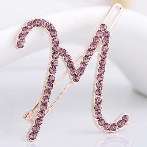 Best Rhinestone Letter M Shape Hair Clip PURPLE