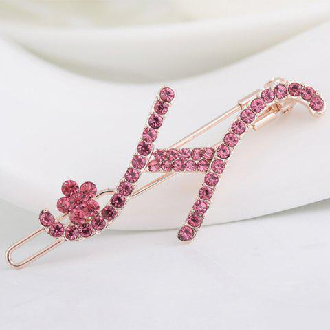 Trendy Rhinestone Letter H Shape Hair Clip PAPAYA