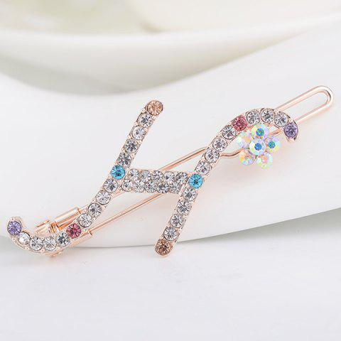 Hot Rhinestone Letter H Shape Hair Clip
