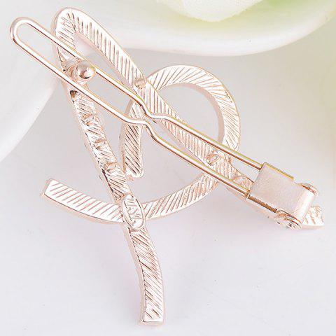 Shop Rhinestone Hollow Out Letter A Hair Clip - SHALLOW PINK  Mobile