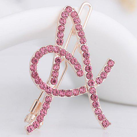 Store Rhinestone Hollow Out Letter A Hair Clip SHALLOW PINK