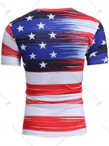 Unique Short Sleeve American Flag Print Tee - 2XL WHITE Mobile
