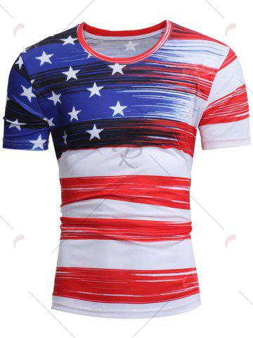 Discount Short Sleeve American Flag Print Tee - 2XL WHITE Mobile