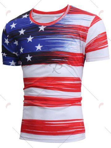 Outfit Short Sleeve American Flag Print Tee - L WHITE Mobile