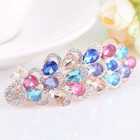 Shops Rhinestone Inlaid Faux Gem Peacock Design Barrette COLORFUL