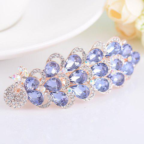 Unique Rhinestone Inlaid Faux Gem Peacock Design Barrette PURPLE