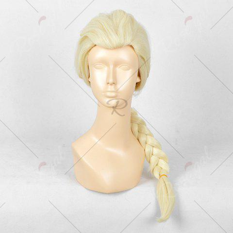 Trendy Long Braided Straight Frozen Snow Queen Elsa Cosplay Wig - YELLOW  Mobile