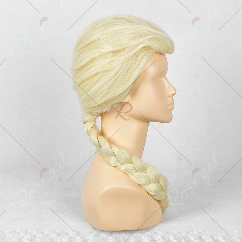 Chic Long Braided Straight Frozen Snow Queen Elsa Cosplay Wig - YELLOW  Mobile