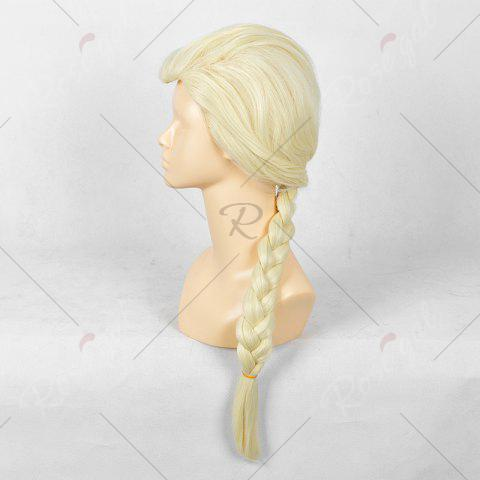Cheap Long Braided Straight Frozen Snow Queen Elsa Cosplay Wig - YELLOW  Mobile