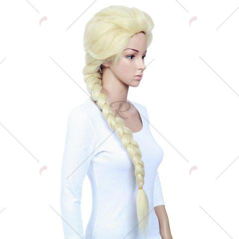New Long Braided Straight Frozen Snow Queen Elsa Cosplay Wig - YELLOW  Mobile
