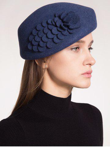 New Woolen Flower Design Pillbox Hoop Hat PURPLISH BLUE