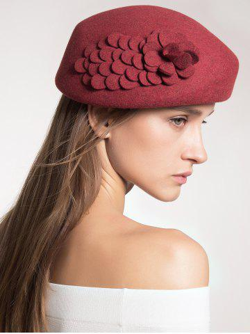 Cheap Woolen Flower Design Pillbox Hoop Hat
