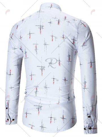 Latest Printed Plus Size Long Sleeve Shirt - 5XL WHITE Mobile