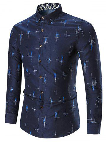 Buy Printed Plus Size Long Sleeve Shirt CADETBLUE 5XL