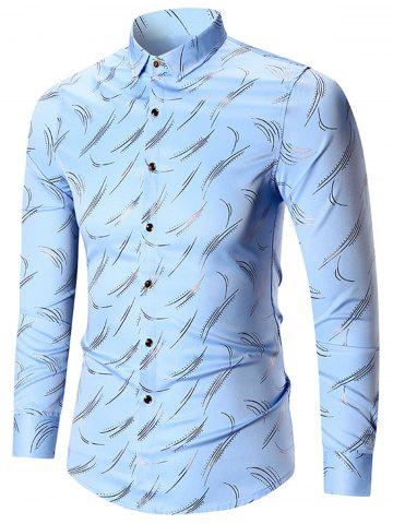 Printed Long Sleeve Plus Size Shirt - Blue - 7xl