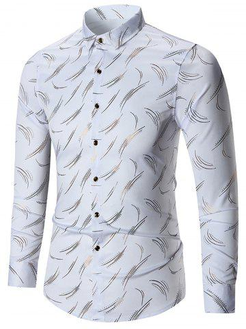 Latest Printed Long Sleeve Plus Size Shirt - 7XL WHITE Mobile