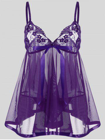 Plus Size Mesh See Thru Slip Dress - Purple - 5xl