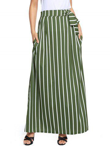 Striped Maxi Skirt - Green - S