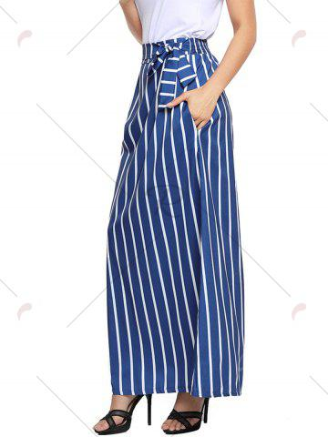 Fashion Striped Maxi Skirt - S BLUE Mobile