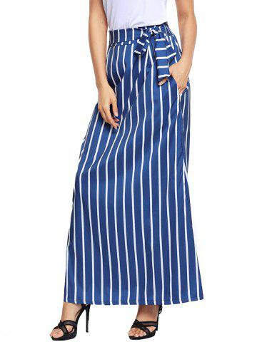 Buy Striped Maxi Skirt - S BLUE Mobile