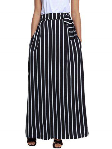 Best Striped Maxi Skirt - S BLACK Mobile