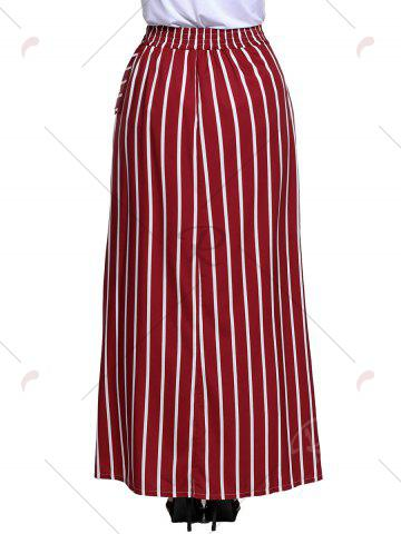 Latest Striped Maxi Skirt - S WINE RED Mobile