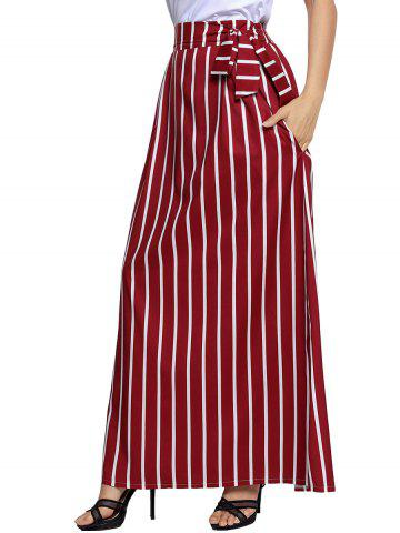 Unique Striped Maxi Skirt - S WINE RED Mobile