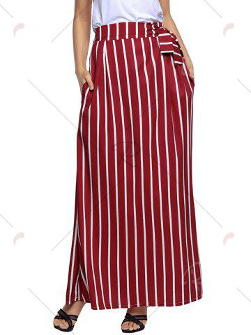 Online Striped Maxi Skirt - S WINE RED Mobile