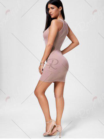 Hot Plunging Neckline Lace Up Party Bodycon Mini Dress - ONE SIZE PAPAYA Mobile