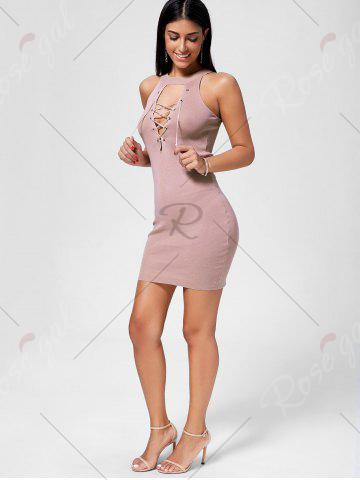 Store Plunging Neckline Lace Up Party Bodycon Mini Dress - ONE SIZE PAPAYA Mobile