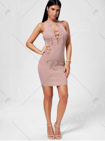 New Plunging Neckline Lace Up Party Bodycon Mini Dress - ONE SIZE PAPAYA Mobile