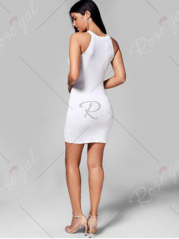 Shop Plunging Neckline Lace Up Party Bodycon Mini Dress - ONE SIZE WHITE Mobile